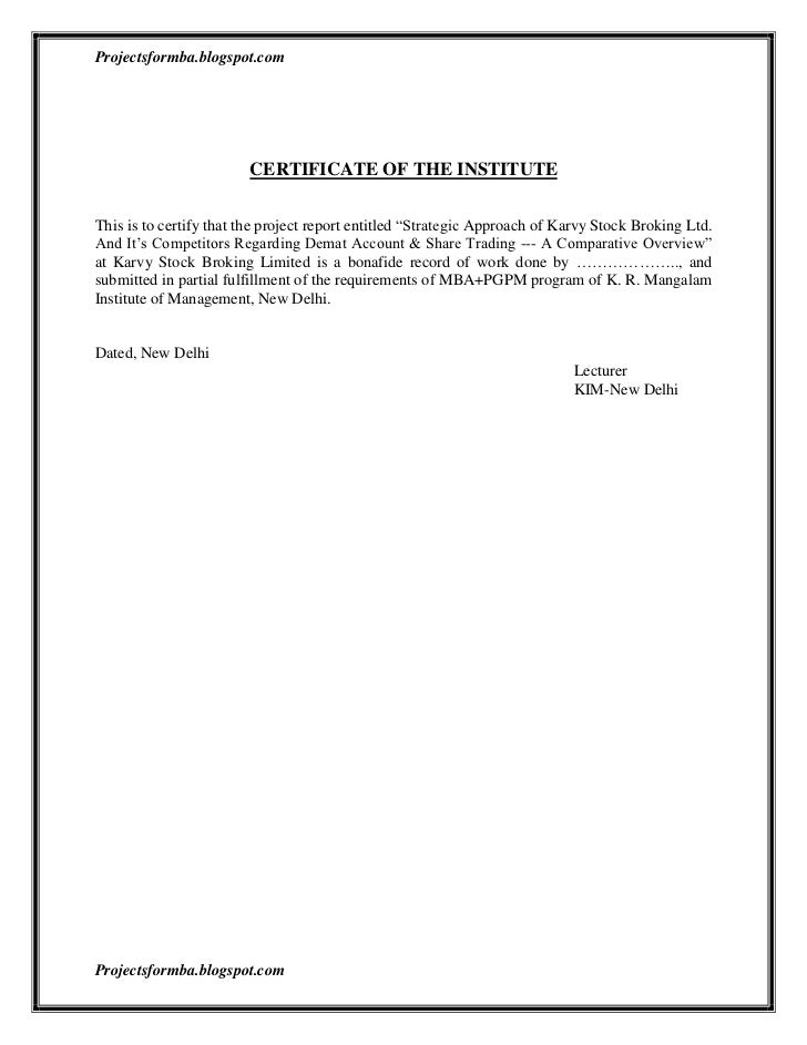 A project report on strategic approach of karvy stock broking ltd and…