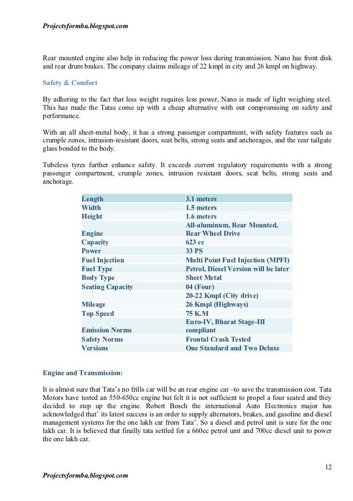 A project report on tata nano pre launch survey