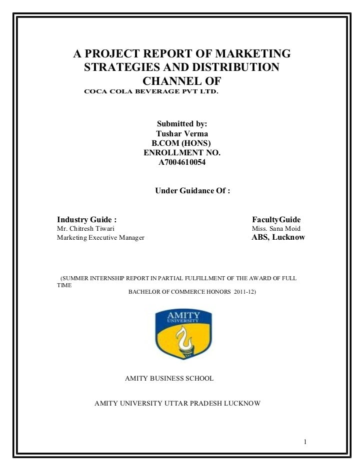 Title Page Of Project Report
