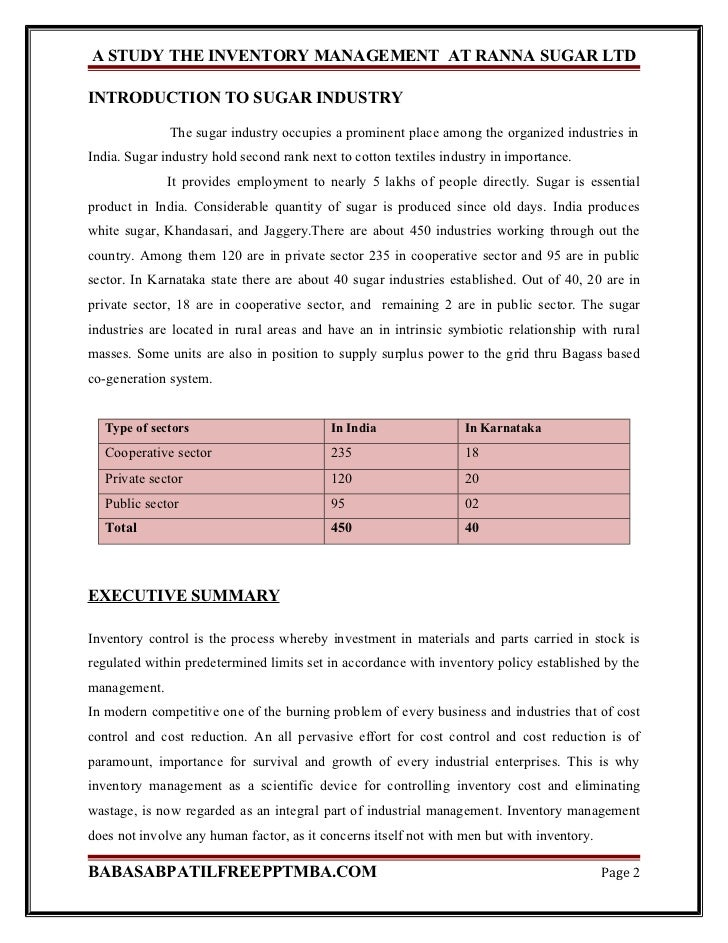 A project report on the inventory management at ranna sugar ltd