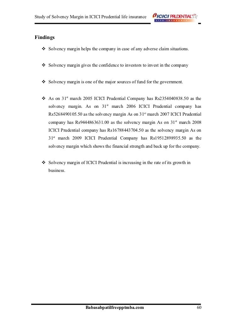 A project report on the study of solvency margin in icici