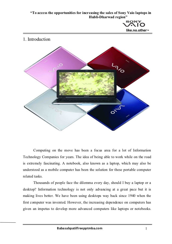 """""""To access the opportunities for increasing the sales of Sony Vaio laptops in                                          Hub..."""