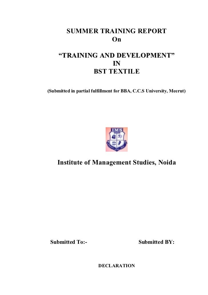 "SUMMER TRAINING REPORT                  On     ""TRAINING AND DEVELOPMENT""                  IN             BST TEXTILE(Subm..."