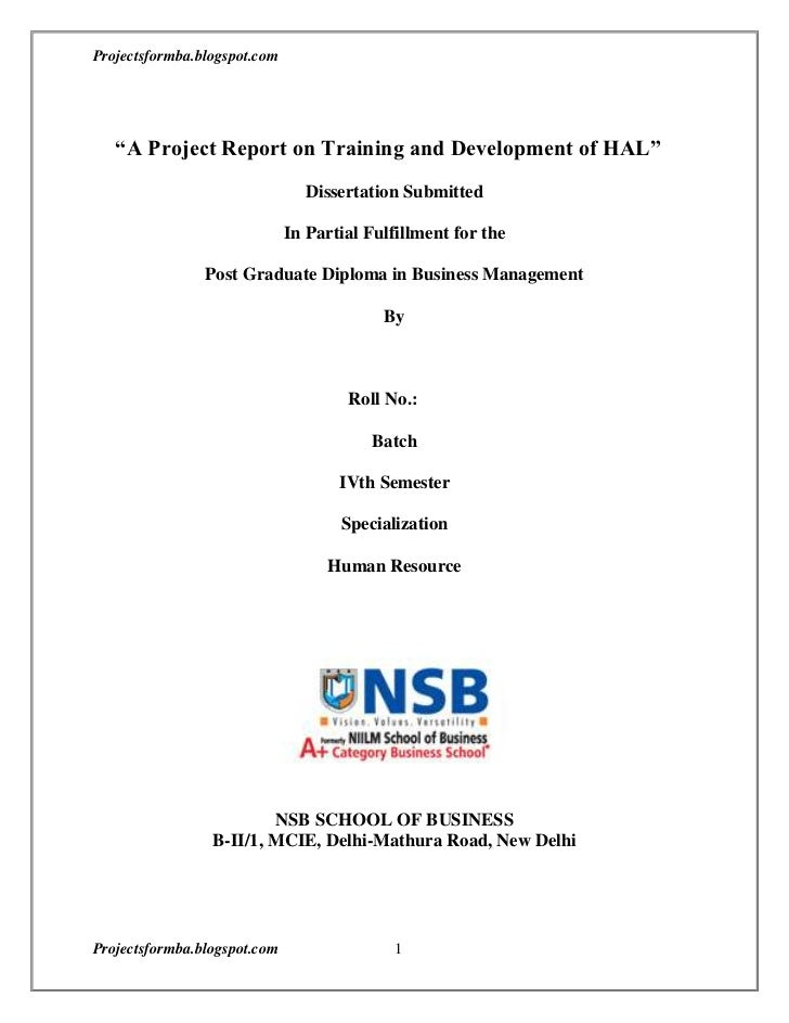 A Project Report On Training And Development With