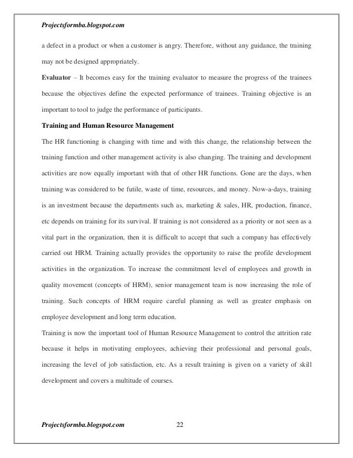 internship report on training and development pdf