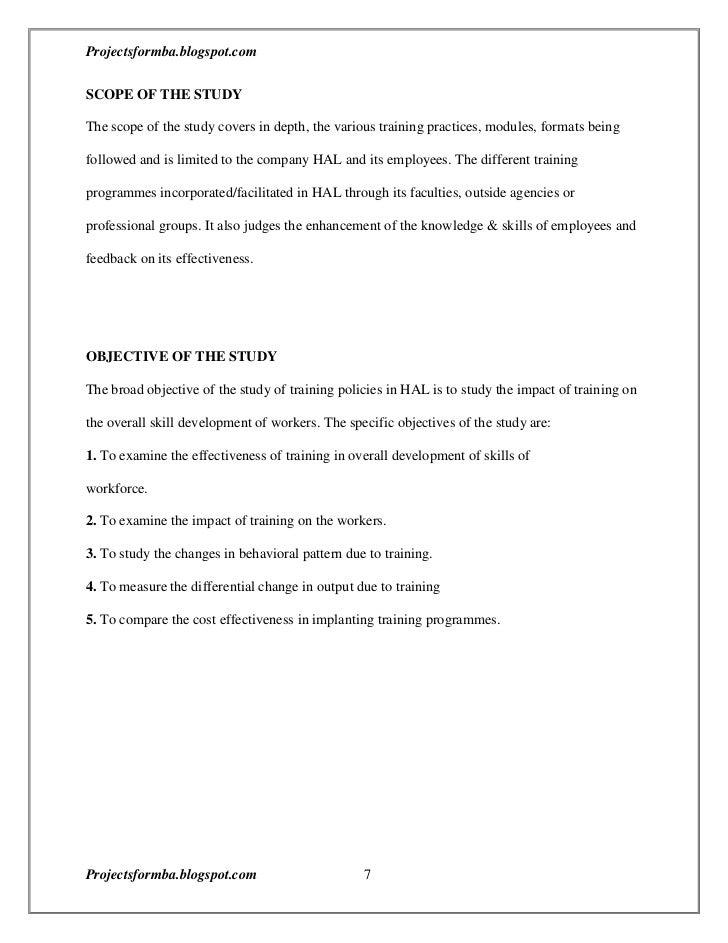 Dissertation on evaluation of training