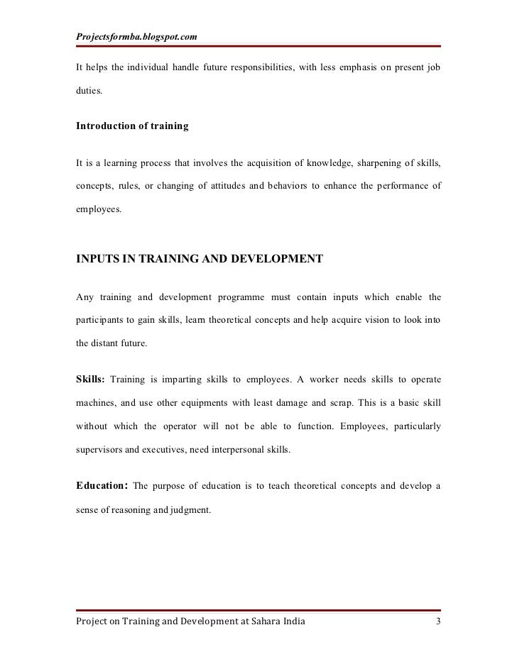 A project report on training and development with special reference to sahara india Slide 3
