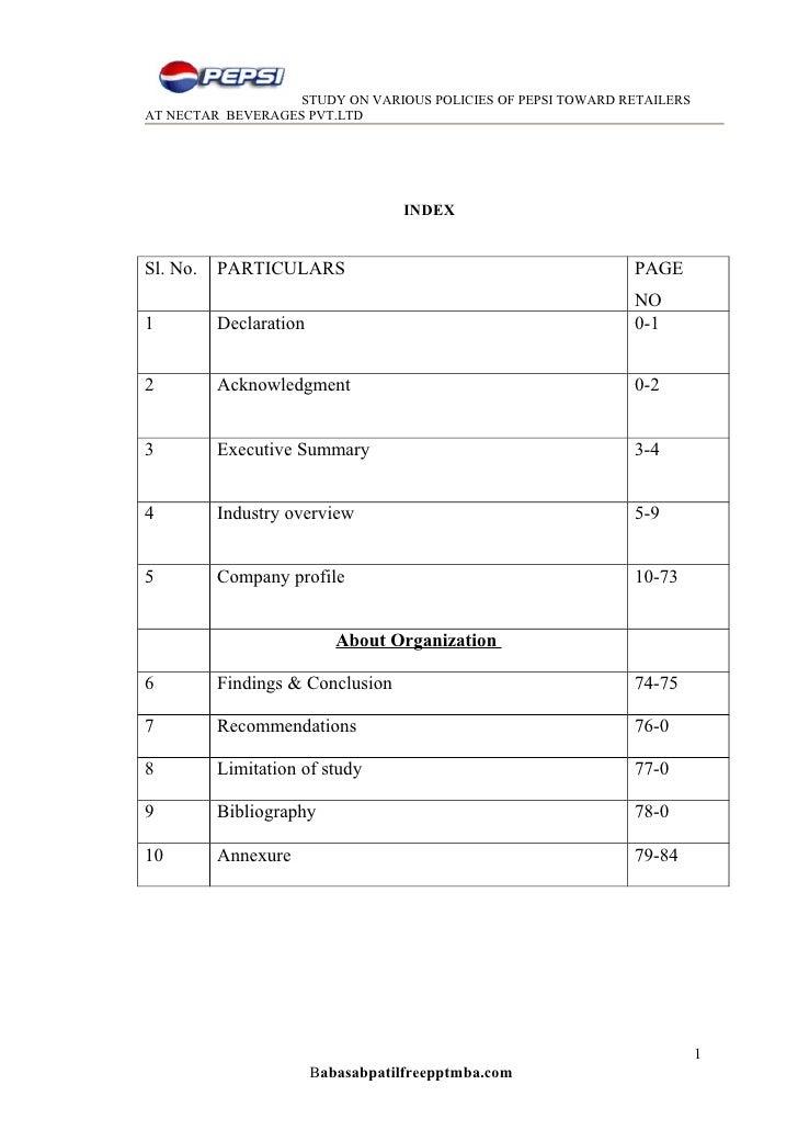 STUDY ON VARIOUS POLICIES OF PEPSI TOWARD RETAILERSAT NECTAR BEVERAGES PVT.LTD                                    INDEXSl....