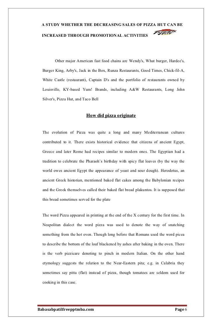 A project report on whether the decreasing sales of pizza hut can be babasabpatilfreepptmba page 5 6 fandeluxe Choice Image