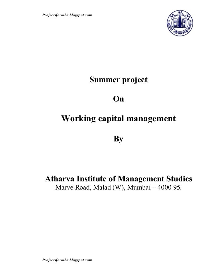 project report on working capital managment Working capital managementof sathe synthetics project report submitted in partial fulfillment of the requirement for the awa.