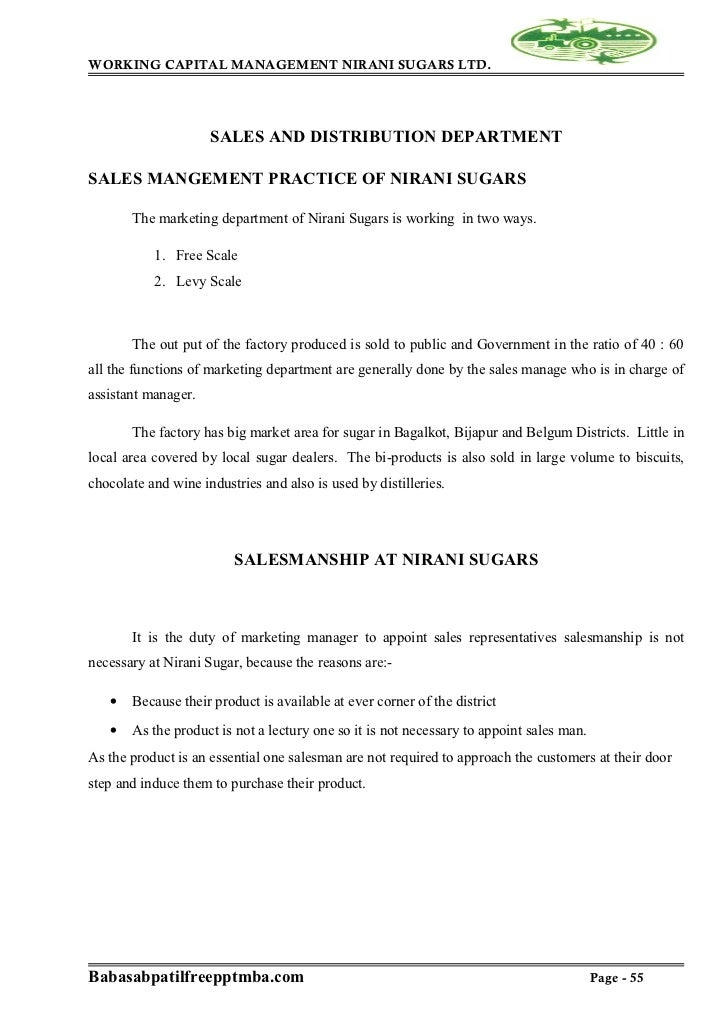 project report on working capital management sugar factory Methods of working capital assessment • operating cycle method  it is mainly  used for seasonal industries (sugar/ rice mills/textiles/tea/tobacco/fertilizers) .