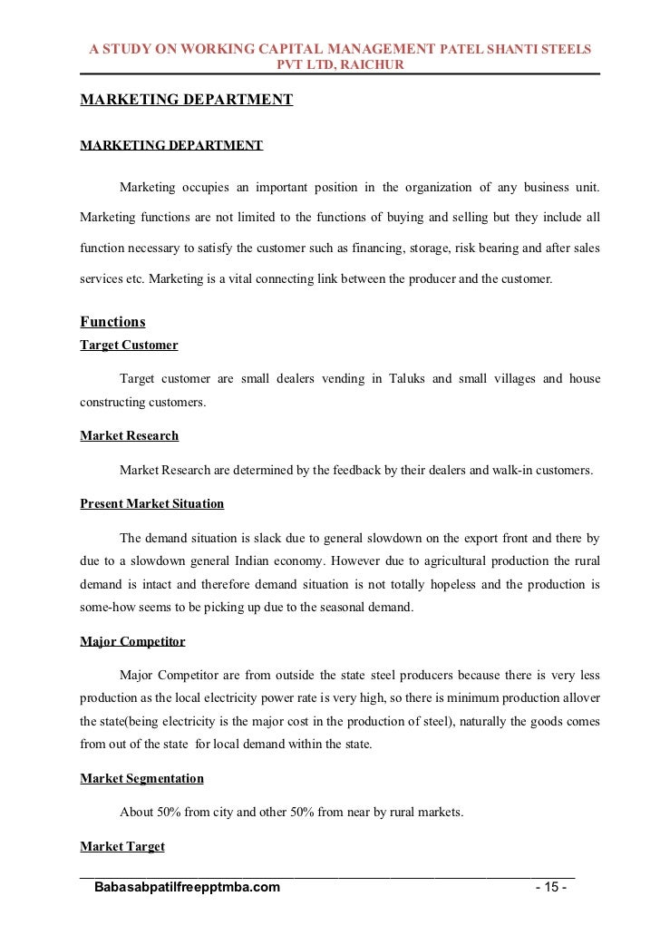 """marketing research project on working capital Report on """"working capital management in hcl infosystems limited"""" by (submitted  in partial fulfillment of the requirements of mba program at icfai business."""