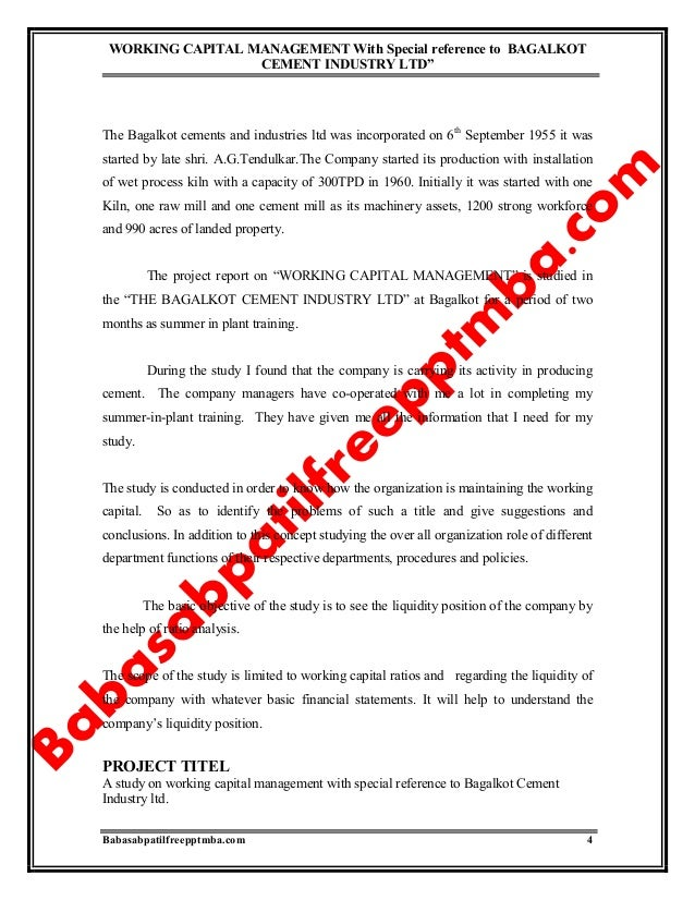 working capital management executive summary Working capital management of hindalco for the last five years contents s no  1 titles page no chapter – 1 executive summary introduction.