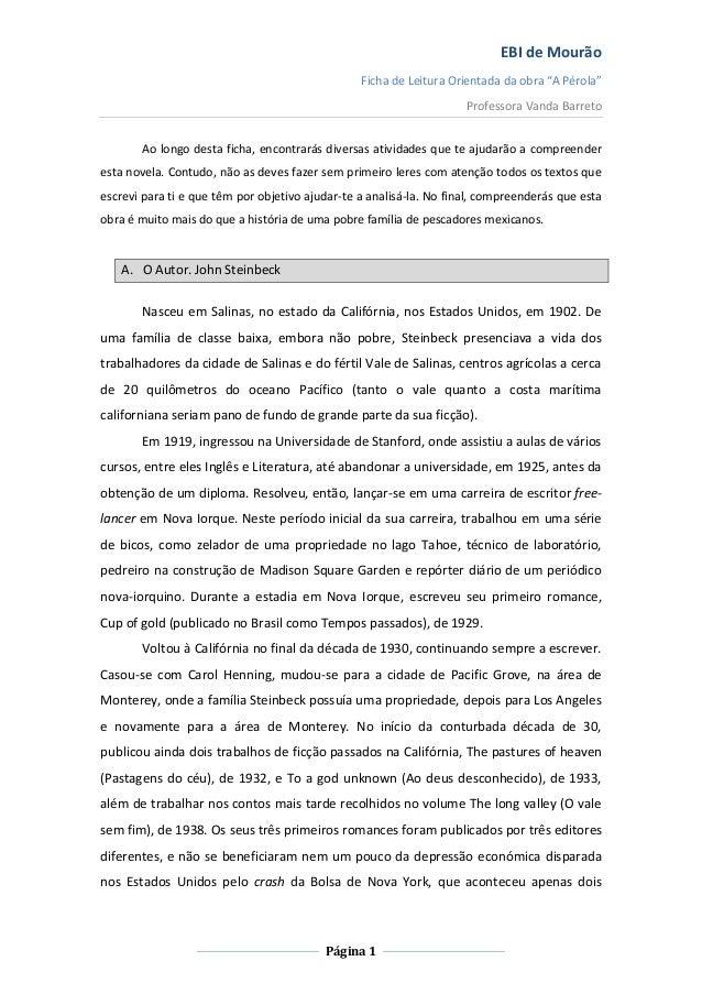 """EBI de Mourão Ficha de Leitura Orientada da obra """"A Pérola"""" Professora Vanda Barreto Ao longo desta ficha, encontrarás div..."""