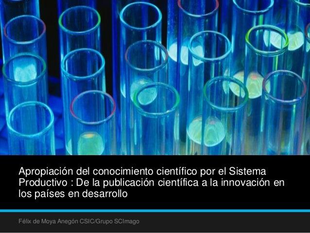 Apropiación del conocimiento científico por el Sistema Productivo : De la publicación científica a la innovación en los pa...