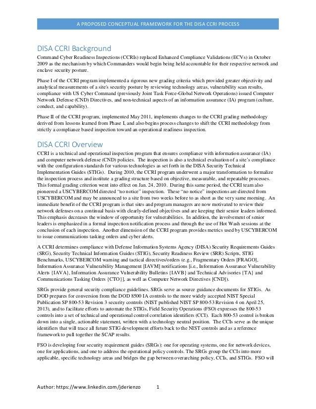 Information Assurance, A DISA CCRI Conceptual Framework
