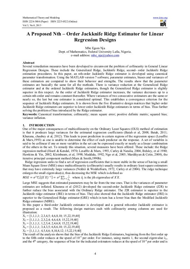 Mathematical Theory and Modeling www.iiste.org ISSN 2224-5804 (Paper) ISSN 2225-0522 (Online) Vol.3, No.8, 2013 4 A Propos...