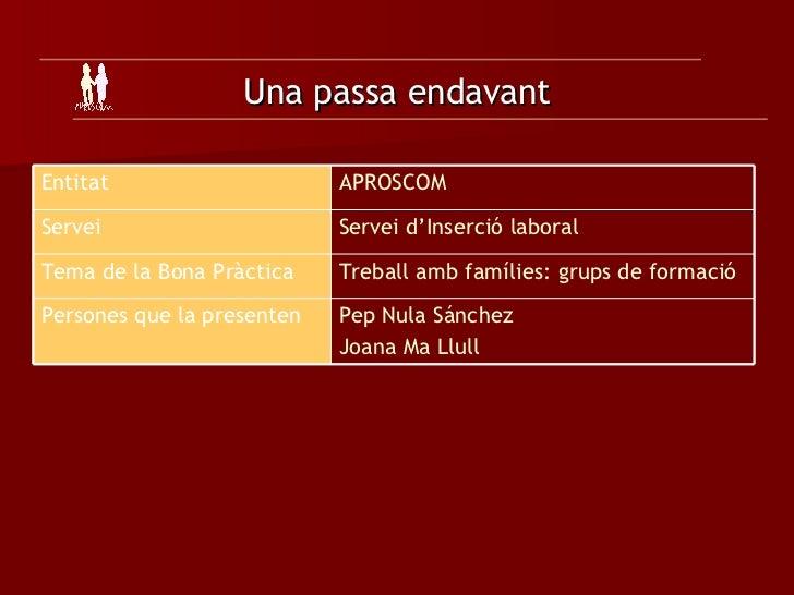 Una passa endavant Pep Nula Sánchez Joana Ma Llull Persones que la presenten Treball amb famílies: grups de formació   Tem...