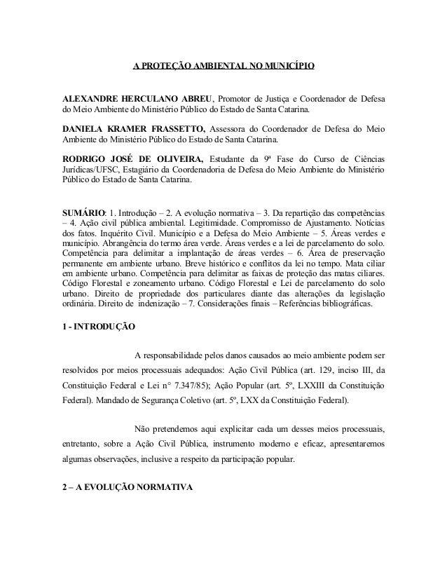 A PROTEÇÃO AMBIENTAL NO MUNICÍPIO ALEXANDRE HERCULANO ABREU, Promotor de Justiça e Coordenador de Defesa do Meio Ambiente ...