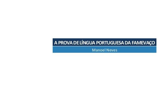 APROVADELÍNGUAPORTUGUESADAFAMEVAÇO ManoelNeves