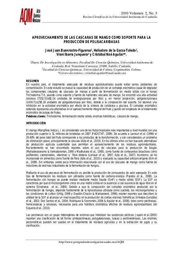 2010 Volumen 2, No. 3 Revista Científica de la Universidad Autónoma de Coahuila http://www.postgradoeinvestigacion.uadec.m...