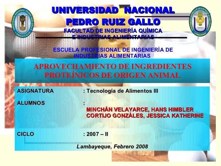 APROVECHAMIENTO DE INGREDIENTES PROTEÍNICOS DE ORIGEN ANIMAL UNIVERSIDAD  NACIONAL PEDRO RUIZ GALLO FACULTAD DE INGENIERÍA...