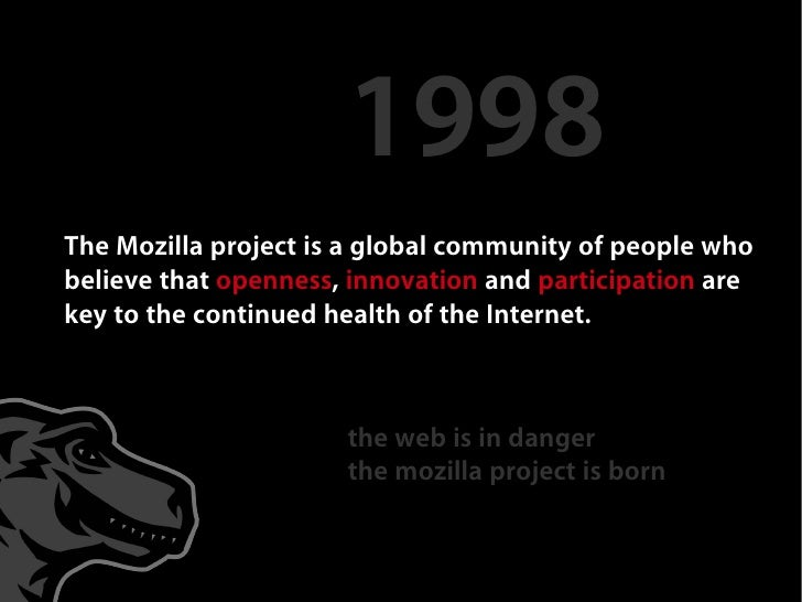1998 The Mozilla project is a global community of people who believe that openness, innovation and participation are key t...