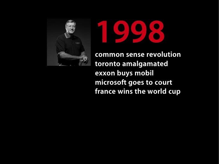 1998 common sense revolution toronto amalgamated exxon buys mobil microsoft goes to court france wins the world cup