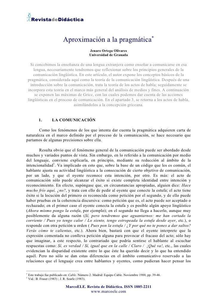 RevistadeDidáctica                                 Aproximación a la pragmática∗                                          ...