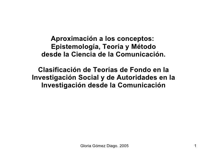 Aproximación a los conceptos:  Epistemología, Teoría y Método desde la Ciencia de la Comunicación. Clasificación de Teoría...