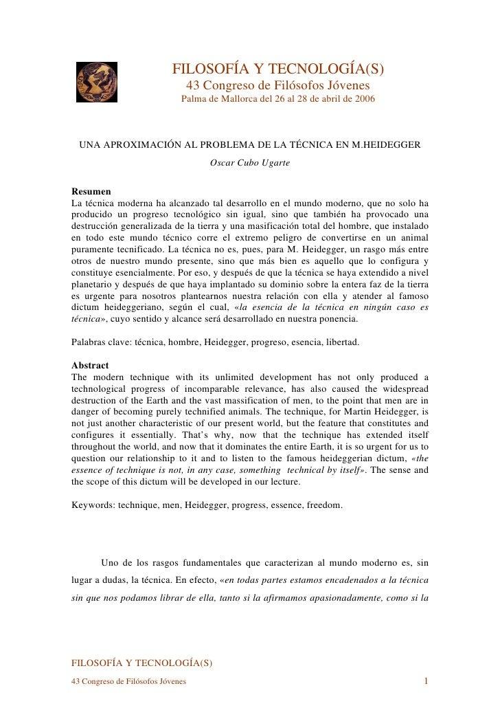 FILOSOFÍA Y TECNOLOGÍA(S)                                    43 Congreso de Filósofos Jóvenes                             ...