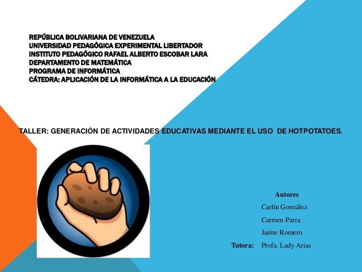 REPÚBLICA BOLIVARIANA DE VENEZUELAUNIVERSIDAD PEDAGÓGICA EXPERIMENTAL LIBERTADORINSTITUTO PEDAGÓGICO RAFAEL ALBERTO ESCOBA...