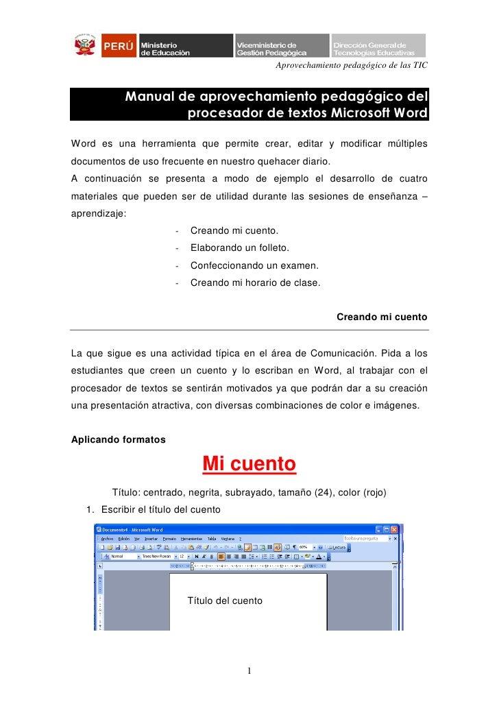 Aprovechamiento pedagógico de las TIC            Manual de aprovechamiento pedagógico del                    procesador de...