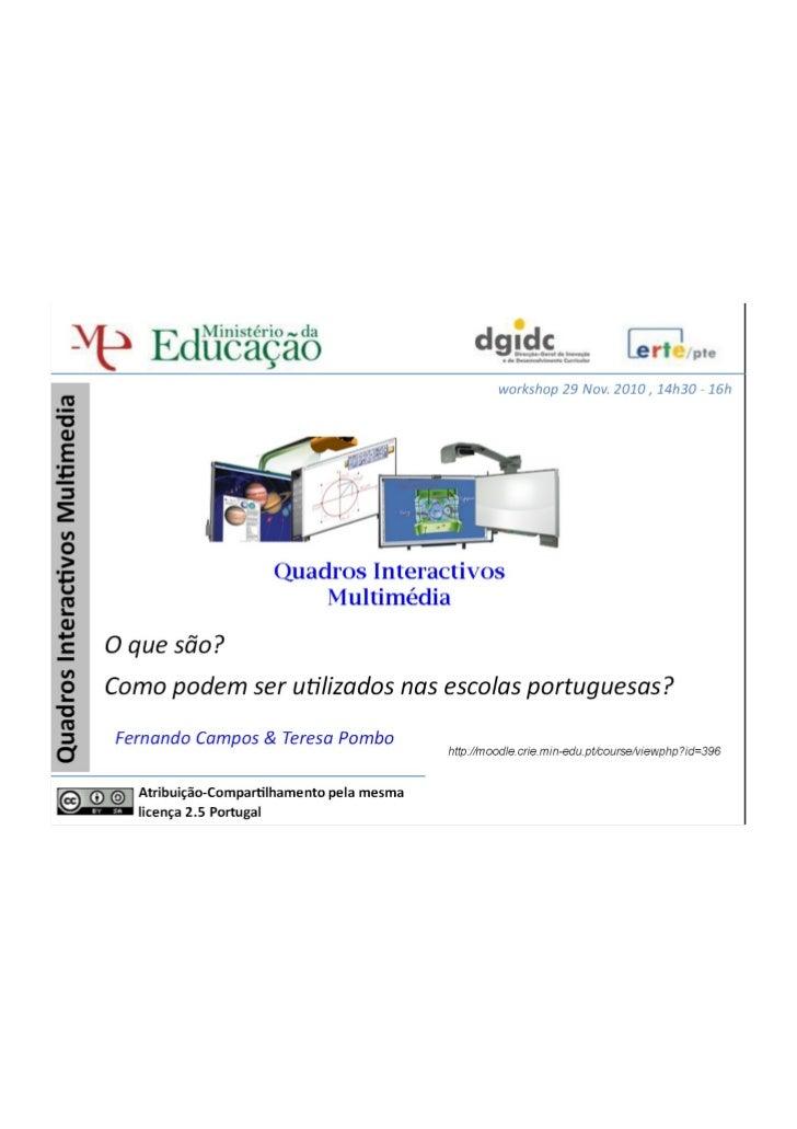 Quadros interativos em educação