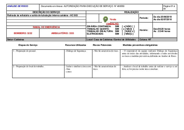 ANÁLISE DE RISCO Documento em Anexo: AUTORIZAÇÃO PARA EXECUÇÃO DE SERVIÇO N° 466550 Página 01 á 04 DESCRIÇÃO DO SERVIÇO RE...