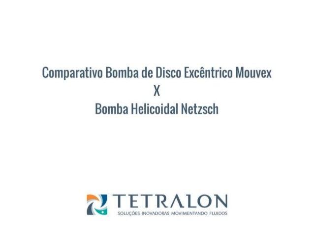 CARACTERÍSTICAS MOUVEX X HELICOIDAL Características Mouvex Helicoidal 1 Pode operar sem produto sem causar danos a bomba (...