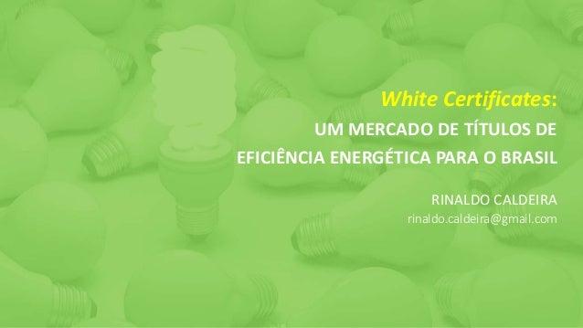 White Certificates: UM MERCADO DE TÍTULOS DE EFICIÊNCIA ENERGÉTICA PARA O BRASIL RINALDO CALDEIRA rinaldo.caldeira@gmail.c...