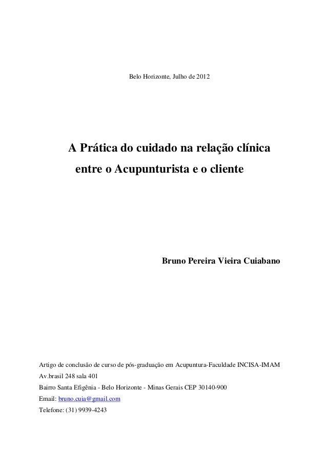 Belo Horizonte, Julho de 2012 A Prática do cuidado na relação clínica entre o Acupunturista e o cliente Bruno Pereira Viei...