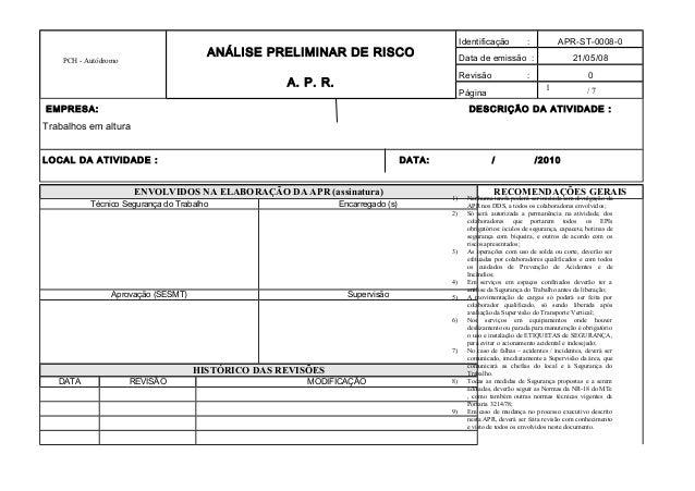 1 PCH - Autódromo ANÁLISE PRELIMINAR DE RISCO A. P. R. Identificação : APR-ST-0008-0 Data de emissão : 21/05/08 Revisão : ...