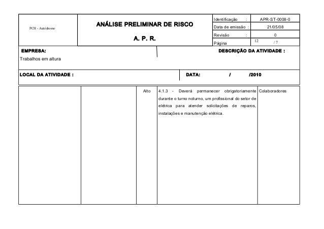 12 PCH - Autódromo ANÁLISE PRELIMINAR DE RISCO A. P. R. Identificação : APR-ST-0008-0 Data de emissão : 21/05/08 Revisão :...