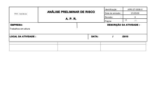 14 PCH - Autódromo ANÁLISE PRELIMINAR DE RISCO A. P. R. Identificação : APR-ST-0008-0 Data de emissão : 21/05/08 Revisão :...