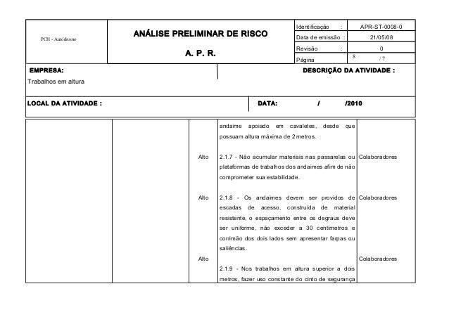 8 PCH - Autódromo ANÁLISE PRELIMINAR DE RISCO A. P. R. Identificação : APR-ST-0008-0 Data de emissão : 21/05/08 Revisão : ...