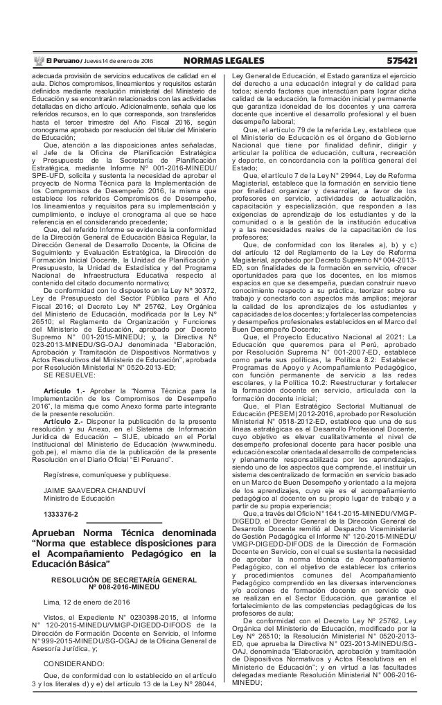 Rm 035 2016 minedu aprueban norma t cnica para la for Resolucion docentes 2016