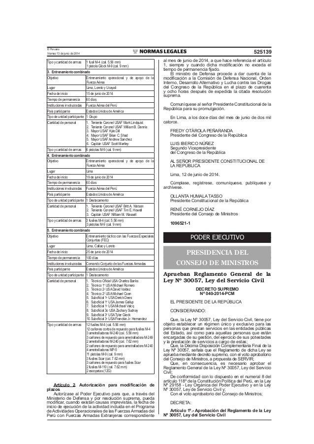 Reglamento General Ley 30057