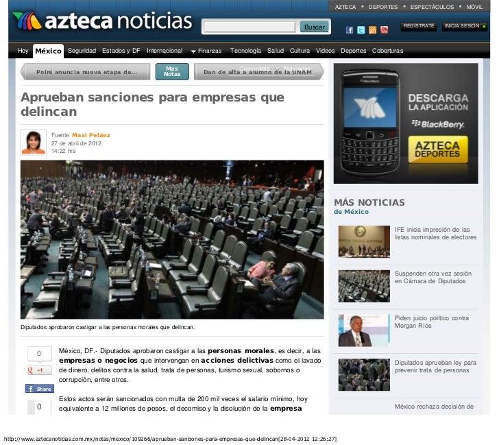 Aprueban sanciones para empresas que delincan - Nota - México - www.aztecanoticias.com.mx                                 ...