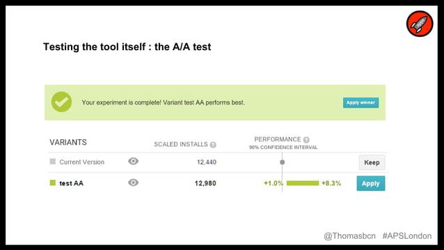 20 20 Testing the tool itself : the A/A test @Thomasbcn #APSLondon
