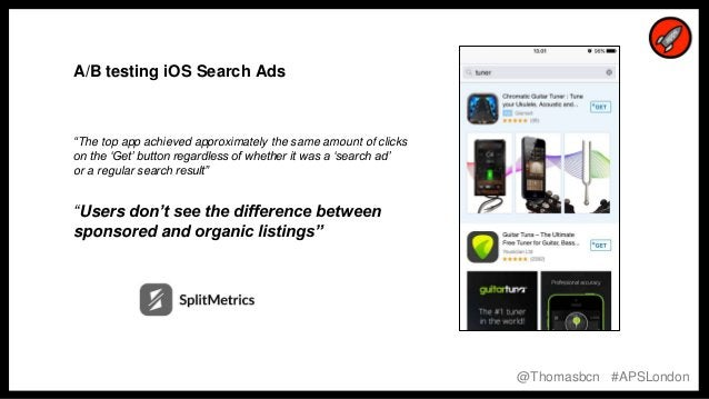 """9 9 A/B testing iOS Search Ads """"The top app achieved approximately the same amount of clicks on the 'Get' button regardles..."""