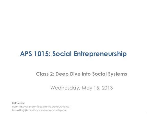 APS 1015: Social EntrepreneurshipClass 2: Deep Dive into Social SystemsWednesday, May 15, 20131Instructors:Norm Tasevski (...