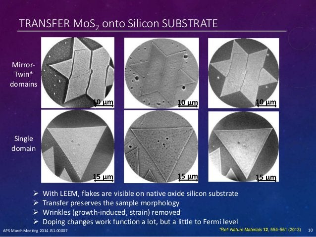 TRANSFER MoS2 onto Silicon SUBSTRATE 10 µm 15 µm 10 µm 15 µm 10 µm 15 µm  With LEEM, flakes are visible on native oxide s...