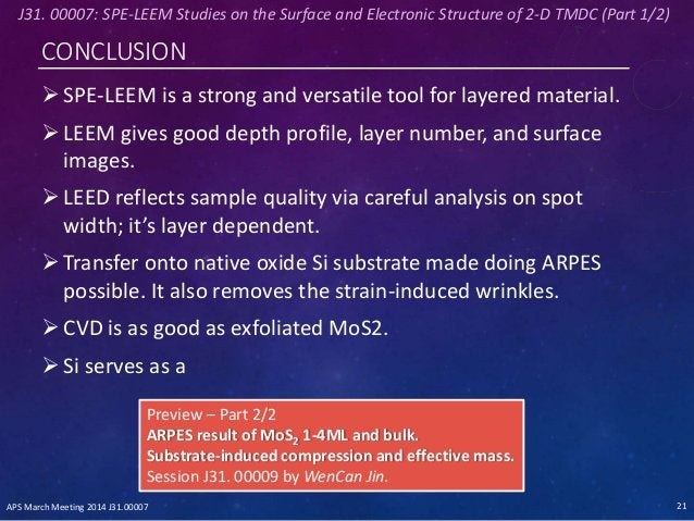 CONCLUSION SPE-LEEM is a strong and versatile tool for layered material. LEEM gives good depth profile, layer number, an...